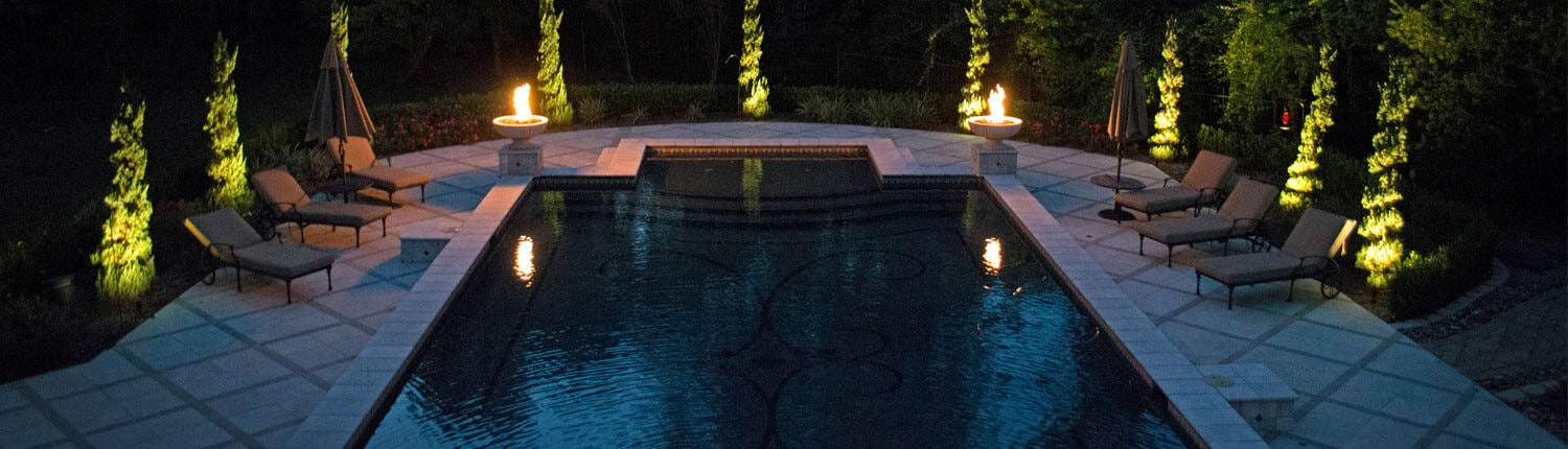 landscape lighting around swimming pool